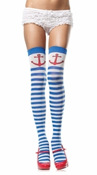 Sailor Girl Stripe Thigh High Stockings with Anchor