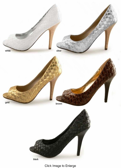 """SALE ** 4"""" Woven Open Toe Pumps """"Kwame"""" from Michael Antonio"""