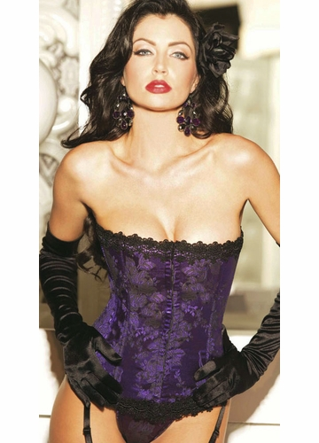 **SALE Classic Floral Brocade Corset with Thong in Purple