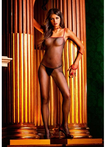 SALE Fishnet Bodystocking with Red Trim