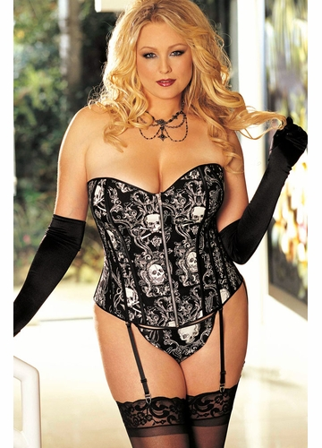 SALE Plus Size Black Skull Print Corset with G-String