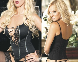 **SALE  Satin Camisole Corset with Lace Asymmetric Front