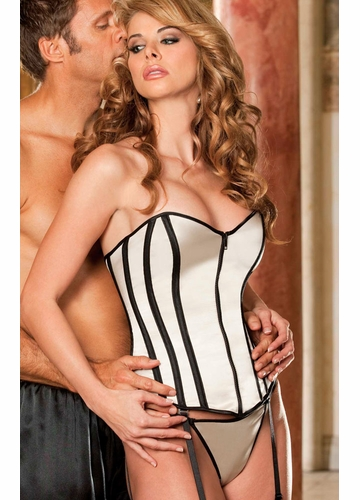 ***SALE Silver Satin Corset with G-string