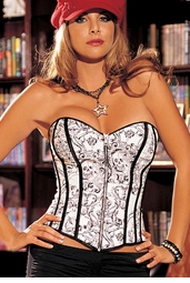 Sale White Skull Corset with Zipper Front