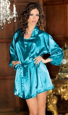 Satin 3/4 Sleeve Robe with Sash (available in 9 colors)