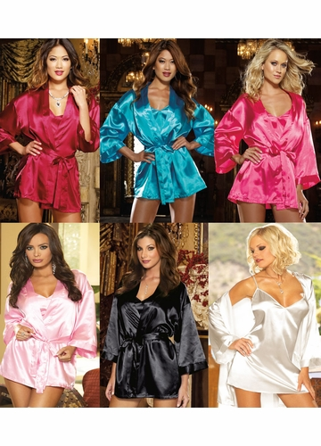 Satin Robe and Low Back Slip