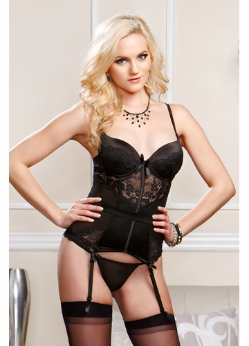 Scalloped Lace and Mesh Bustier with G-string