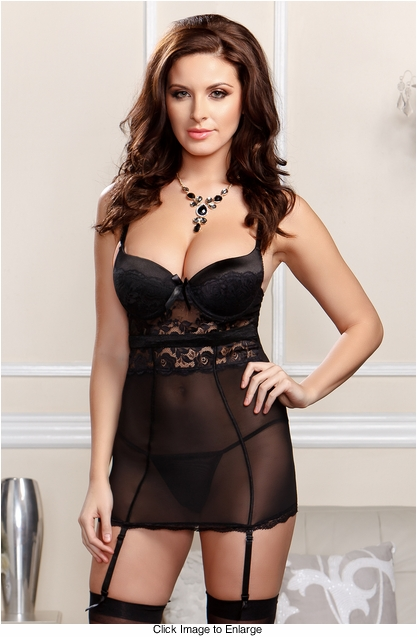 Scalloped Lace Garter Dress with G-string