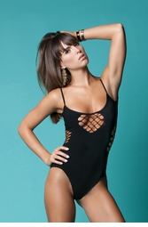 Seamless Bodysuit with Net Detail