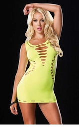 Seamless Neon Cutout Mini Dress