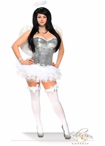 Sequin Corset Angel Costume with Feather Wings, Petticoat and Halo