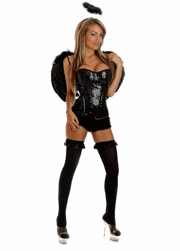 Sequin Corset Angel of Darkness Costume with Feather Wings and Halo