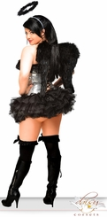 Sequin Corset Dark Angel Costume with Feather Wings, Petticoat and Halo