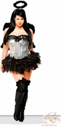 Sequin Corset Dark Angel Costume with Feather Wings
