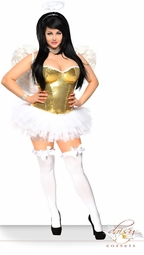 4-Piece Sequin Corset Golden Angel Costume with Feather Wings