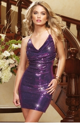 Sequin Halter Dress with Chain Straps