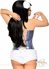 Sequin Rainbow Corset with Lace-Up Back