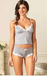 Seraphina Knit Cami and Shorts with White Lace Trim