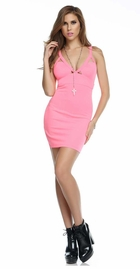 Seville Pink Dress with Triangle Cutouts