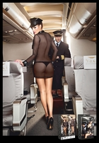 Sexy Airline Stewardess Lingerie Costume, Badge and Hat