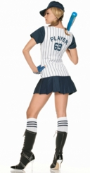 Sexy Baseball Player Costume in White and Blue