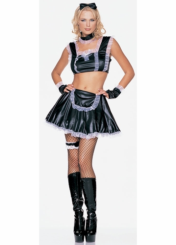 Sexy French Maid Adult Costumes with White Lace Trim