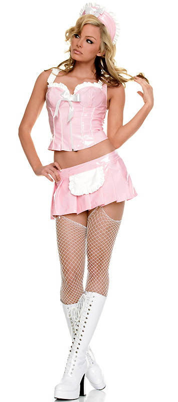 Sexy French Maid Costumes in Pink Vinyl