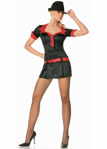 Sexy Lady Mobster Costume Mini Dress
