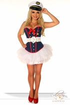 Sexy Marine Costume with Pettiskirt and Hat, Belt and Thong