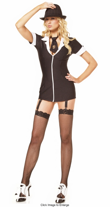 Sexy Mobster Costume Mini Dress