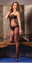 Sheer and Opaque Polka Dot Bodystocking
