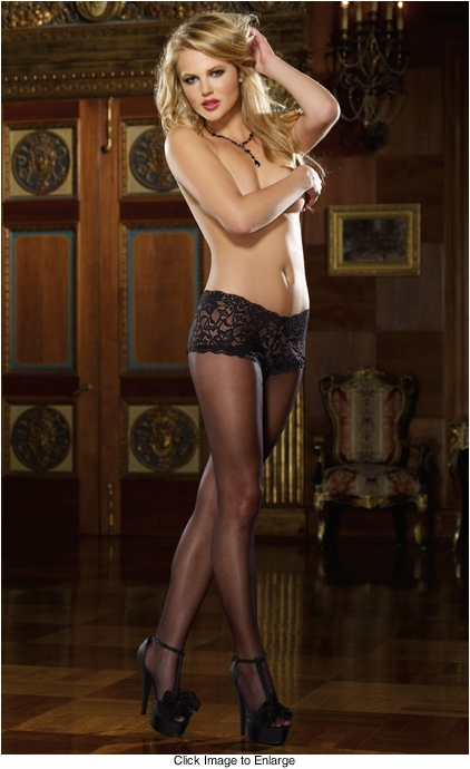 Sheer Back Seam Pantyhose with Attached Shorts