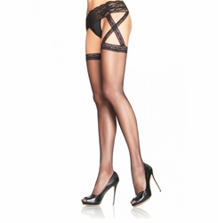 Sheer Criss Cross Garter Belt Thigh High Stockings