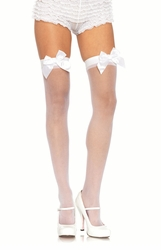 Sheer Nylon Thigh High Stockings with Satin Bows