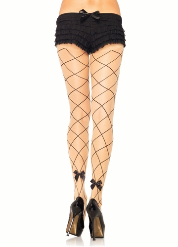 Sheer Pantyhose with Diamond Pattern and Bow