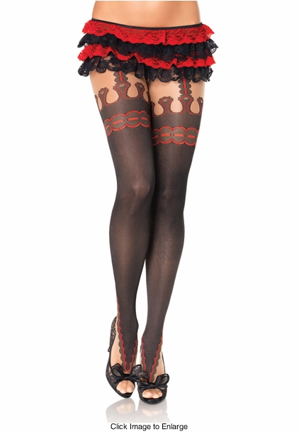 Sheer Pantyhose with Faux Garterbelt Detail
