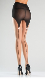 Sheer Pantyhose with Mock Garter Design