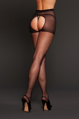 Sheer Spandex Pantyhose with Open Crotch