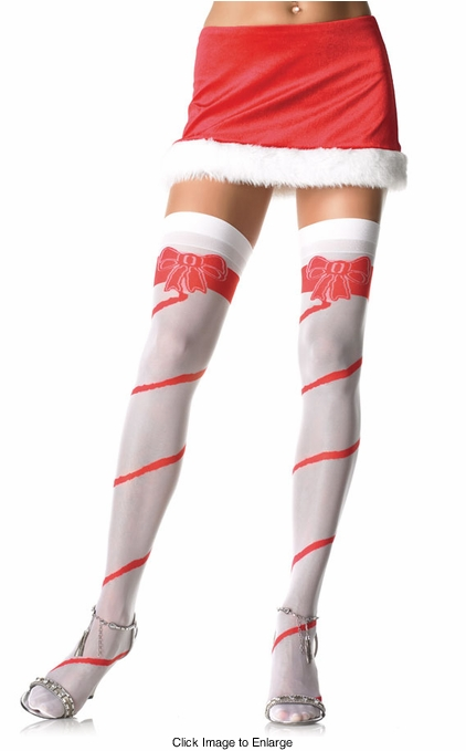 Sheer Spiral Stripe with Bow Stockings