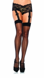 Sheer Stockings with Attached Lace Garter Panty