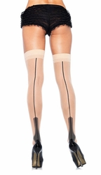Sheer Stockings with Contrast Backseam and Heel