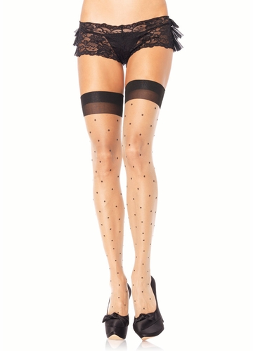 Sheer Stockings with Polka Dots and Black Cuff