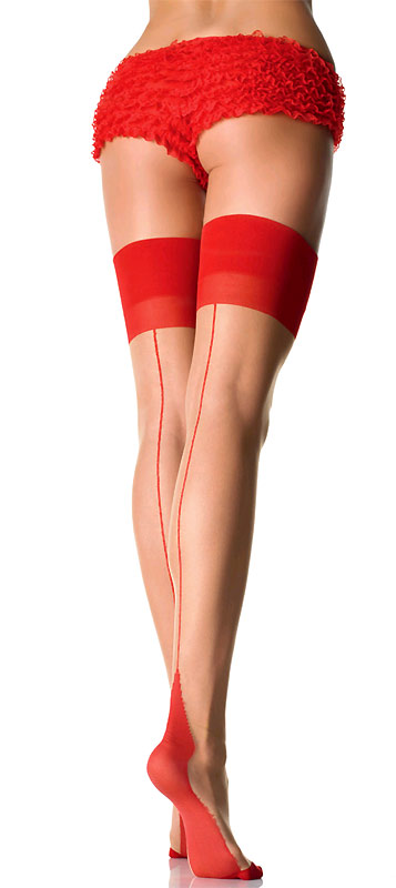 Sheer Thigh High Stockings with Cuban Heel and Back Seam