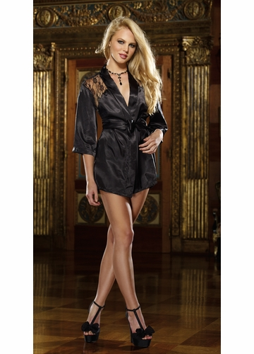 Short Length Black Kimono Robe with Lace Back, G-String and Padded Hanger