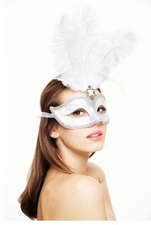 Showgirl Glitter Mask with Feathers