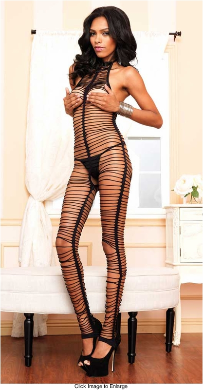 Shredded Halter Bodystocking