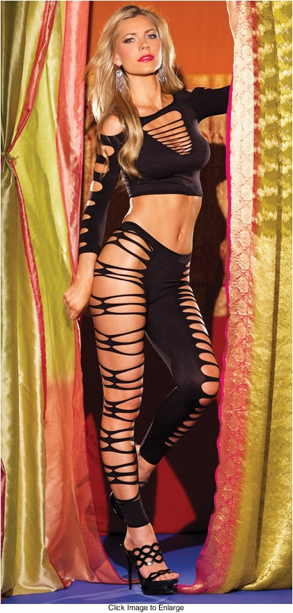 Shredded Top and Footless Tights