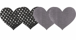 Silver Heart Self Adhesive Pasties