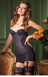 Sinfully Retro Garter Dress with Silver Net Front
