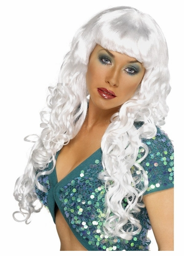 Siren White Long Curly Wig